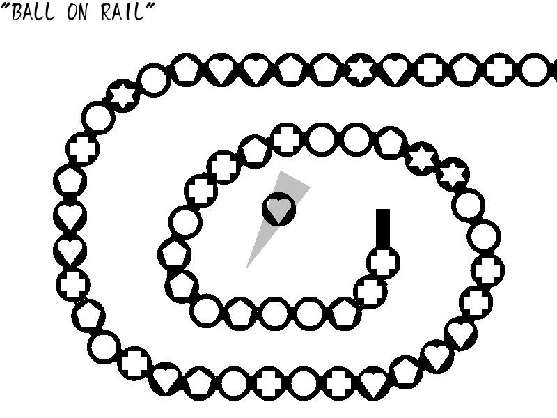 軌道に沿って進むボール