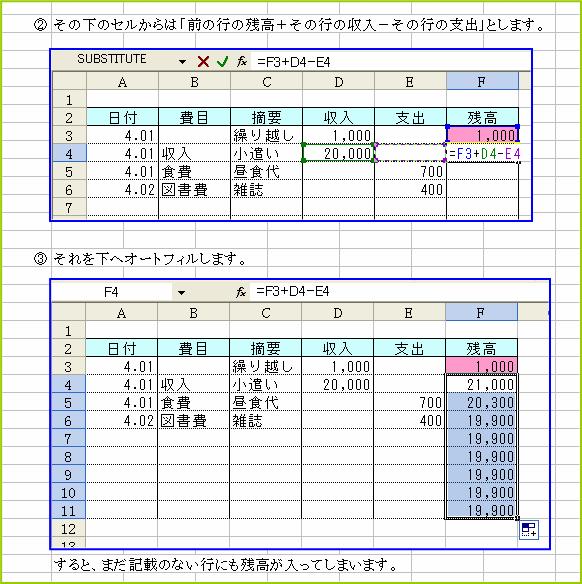 エクセル 帳簿